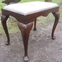 Mahogany Framed Upholstered Top Dressing Stool